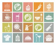 Cooking, icons, colored, pencil hatching, vector. Products and kitchen utensils. Hatching with a white pencil on the color field. Imitation. Square vector clip Stock Photos