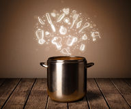Cooking icons coming out from cooking pot Royalty Free Stock Images