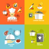 Cooking icons flat. Art of cookery cooking process delicious food best recipes decorative icons set isolated vector illustration Stock Image