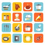 Cooking Icons Flat. Cooking kitchen and restaurant flat icons set with pan glove chicken chef isolated vector illustration stock illustration