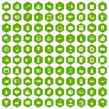 100 cooking icons hexagon green. 100 cooking icons set in green hexagon isolated vector illustration Royalty Free Stock Image