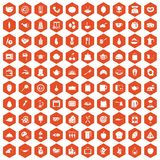 100 cooking icons hexagon orange. 100 cooking icons set in orange hexagon isolated vector illustration Stock Illustration
