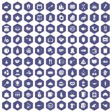 100 cooking icons hexagon purple. 100 cooking icons set in purple hexagon isolated vector illustration stock illustration