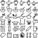 Cooking icons. Cooking and kitchen icon collection -  outline Royalty Free Stock Photos