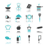 Cooking icons with reflection Stock Photos