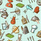 Cooking icons seamless pattern Royalty Free Stock Photography