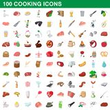 100 cooking icons set, cartoon style. 100 cooking icons set in cartoon style for any design illustration stock illustration