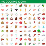 100 cooking icons set, cartoon style Royalty Free Stock Image