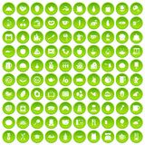100 cooking icons set green circle. Isolated on white background vector illustration Royalty Free Stock Photography