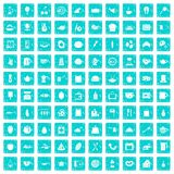 100 cooking icons set grunge blue. 100 cooking icons set in grunge style blue color isolated on white background vector illustration Stock Image