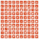 100 cooking icons set grunge orange. 100 cooking icons set in grunge style orange color isolated on white background vector illustration Royalty Free Stock Photography