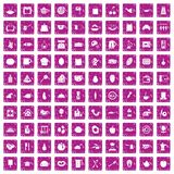 100 cooking icons set grunge pink. 100 cooking icons set in grunge style pink color isolated on white background vector illustration Royalty Free Illustration