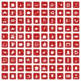 100 cooking icons set grunge red Royalty Free Stock Images