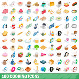 100 cooking icons set, isometric 3d style Stock Images