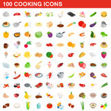 100 cooking icons set, isometric 3d style. 100 cooking icons set in isometric 3d style for any design vector illustration Stock Images