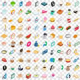 100 cooking icons set, isometric 3d style. 100 cooking icons set in isometric 3d style for any design vector illustration stock illustration