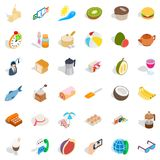 Cooking icons set, isometric style. Cooking icons set. Isometric style of 36 cookingle vector icons for web isolated on white background Stock Photo