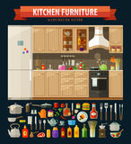 Cooking icons set. kitchen furniture and utensils Royalty Free Stock Photos
