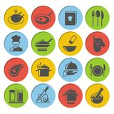 Cooking Icons Set. Cooking kitchen and restaurant icons set with chicken chef recipe book pot pan isolated vector illustration vector illustration