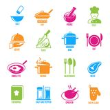 Cooking Icons Set. Cooking kitchen and restaurant icons set with salt fry chef serve slice boil isolated vector illustration vector illustration