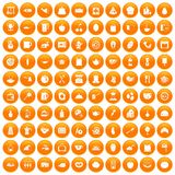100 cooking icons set orange. 100 cooking icons set in orange circle isolated on white vector illustration Royalty Free Illustration