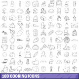 100 cooking icons set, outline style Royalty Free Stock Photography