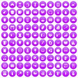 100 cooking icons set purple. 100 cooking icons set in purple circle isolated on white vector illustration Stock Photo