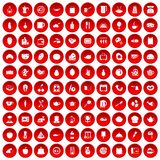 100 cooking icons set red. 100 cooking icons set in red circle isolated on white vector illustration Royalty Free Stock Photography