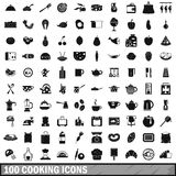 100 cooking icons set in simple style Stock Photography