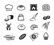 Cooking icons. Sixteen black cooking and kitchen icons set Royalty Free Stock Photos