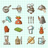 Cooking icons sketch. Cooking process delicious food sketch colored icons set isolated on squared background vector illustration royalty free illustration