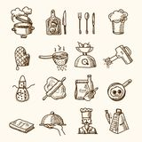 Cooking icons sketch. Cooking process delicious food sketch icons set isolated vector illustration royalty free illustration
