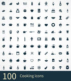 100 cooking icons. On white background Stock Illustration