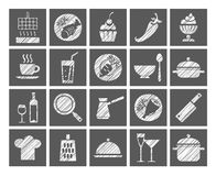 Cooking, icons, white, gray, pencil hatching, vector. Products and kitchen utensils. Hatching with a white pencil on a gray field. Imitation. Square vector clip Royalty Free Stock Photos