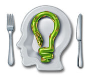 Cooking Ideas. With a white ceramic plate in the shape of a human head and an asparagus vegetable shaped as a light bulb as a food creativity concept of stock illustration