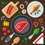 Cooking Illustration with Fresh Food in a Flat Design. Cooking Concept Illustration with Fresh Food in a Flat Design Royalty Free Stock Image