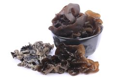 Cooking ingredient series black fungus. for adv etc. of restaurant,grocery,and others. On a white background royalty free stock image
