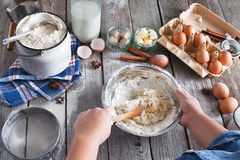 Cooking ingredients for baking, eggs, butter and flour Stock Images
