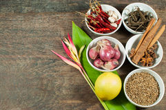 Cooking ingredients. Contains : lemon,Dried chilies,pepper, scallions, cinnamon,star anise, Heliconia thai flower,Garlic and Basil on wooden table Stock Photos