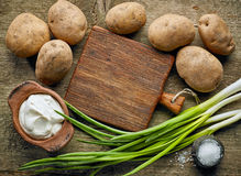 Cooking ingredients and cutting board Stock Photo