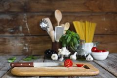 Cooking, ingredients, Italian cuisine, pasta. cherry tomatoes, Stock Photos