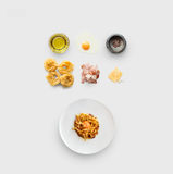 Cooking ingredients for italian food, carbonara, isolated on white Stock Photos