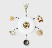 Cooking ingredients for italian risotto with wild mushrooms isolated Stock Photos
