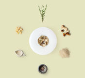 Cooking ingredients for italian risotto with wild mushrooms isolated on yellow. Cooking italian food, risotto with wild mushrooms, isolated on yellow background Stock Image