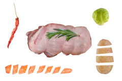 Cooking Ingredients. Lamb Meat with Rosemary, a Red Chilli Pepper, a Brussels Sprout, a Chopped Carrot and a Chopped Potato on White Royalty Free Stock Image