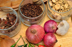 Cooking ingredients. Spice and herbs with onion and garlic on wooden board Stock Photo