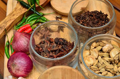 Cooking ingredients. Spice and herbs with onion and garlic on wooden board Stock Photos