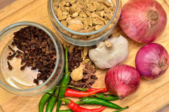 Cooking ingredients. Spice and herbs with onion and garlic on wooden board Stock Photography