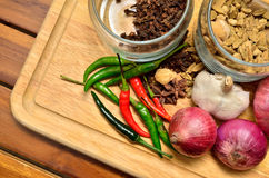 Cooking ingredients. Spice and herbs with onion and garlic on wooden board Royalty Free Stock Images