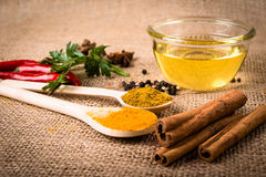 Cooking ingredients, spices, herds and oil. On a burlap Stock Photography